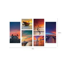 "Ocean View 6 Piece Set Wrapped Canvas Wall Art Giclee Print Modern Multi Color Photographic Life by the Water Scenes Stretched Ready to Hang, 40"" x 64"""