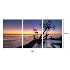 "Hawaii Sunset 3 Piece Set Wrapped Canvas Wall Art Set Giclee Print Modern Multi Panel Color Photographic Aloha Beach Sunset on the Horizon Stretched Ready to Hang, 27.5"" x 60"""