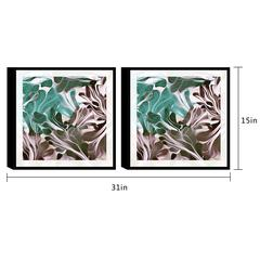 "Cavali 2 Piece Set Framed Wrapped Canvas Wall Art Giclee Print Modern Melded Swirls of Maroon and Green Abstract Design Stretched Ready to Hang, 15.5"" x 31"""