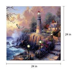 "Light House 1 Piece Wrapped Canvas Wall Art Giclee Print Modern Multi Color Painting Lighthouse on a Cliff Overlooking the Sea Stretched Ready to Hang, 24"" x 24"""