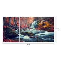 "Autumn Forest 3 Piece Set Wrapped Canvas Wall Art Giclee Print Modern Multi Panel Color Photographic Waterfall Rushing Creek in the Woods Stretched Ready to Hang, 27.5"" x 60"""