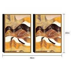 "Regis 2 Piece Set Framed Wrapped Canvas Wall Art Giclee Print Modern Gold Bronze Black Blend Abstract Design Stretched Ready to Hang, 30"" x 46"""