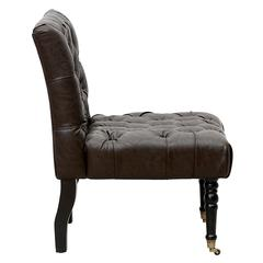 Chic Home Hendrix Accent Slipper Chair Elegant Tufted PU Leather Plush Cushion Turned Wood Legs, Dark Brown