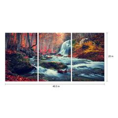 "Autumn Forest 3 Piece Set Wrapped Canvas Wall Art Giclee Print Modern Multi Panel Color Photographic Waterfall Rushing Creek in the Woods Stretched Ready to Hang, 20"" x 40.5"""