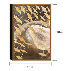"Flying Birds 1 Piece Framed Wrapped Canvas Wall Art Giclee Print Modern Beige and Gold Swoop of Cranes Abstract Design Stretched Ready to Hang, 20"" x 15"""