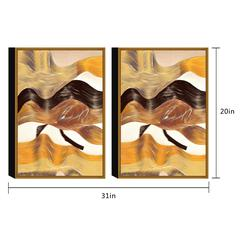 "Regis 2 Piece Set Framed Wrapped Canvas Wall Art Giclee Print Modern Gold Bronze Black Blend Abstract Design Stretched Ready to Hang, 20"" x 31"""