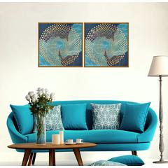 "Veneta 2 Piece Set Framed Wrapped Canvas Wall Art Giclee Print Modern Golden Gilding Wave Accents Abstract Geometric Design Stretched Ready to Hang, 15.5"" x 31"""