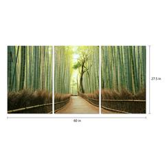 "Pine Road 3 Piece Set Wrapped Canvas Wall Art Giclee Print Modern Multi Panel Color Photographic Journey Through the Wooded Forest Stretched Ready to Hang, 27.5"" x 60"""