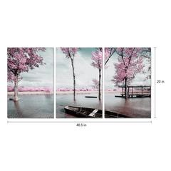 "Blossom 3 Piece Set Wrapped Canvas Wall Art Giclee Print Modern Multi Panel Color Photographic Lakeside Cherry Blossoms Spring Bloom Stretched Ready to Hang, 20"" x 40.5"""
