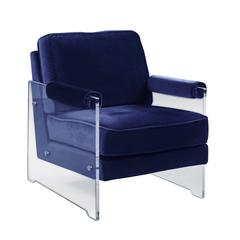 Chic Home Logan Modern Contemporary Acrylic Frame Upholstered Arm Velvet Accent Chair, Navy