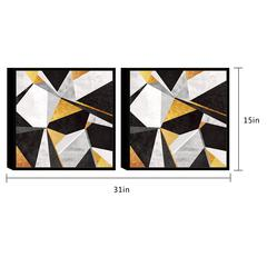 "Geo France 2 Piece Set Framed Wrapped Canvas Wall Art Giclee Print Modern Gold Black White Marble Pattern Abstract Geometric Design Stretched Ready to Hang, 15.5"" x 31"""