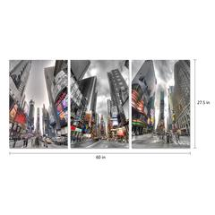 "Citylife 3 Piece Set Wrapped Canvas Wall Art Giclee Print Modern Multi Panel Color Spot Photographic New York Times Square Big Apple Stretched Ready to Hang, 27.5"" x 60"""