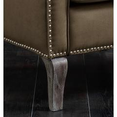 Chic Home Mixed Material Linen Leatherette Nailhead Ethan Accent Chair, Beige