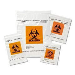 Zip-Style Biohazard Specimen Bags,Clear, 1/EA