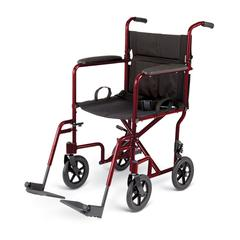 "Aluminum Transport Chair with 8"" Wheels,Red, 1/CS"