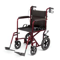 "Aluminum Transport Chair with 12"" Wheels,Red, 1/CS"
