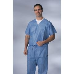 Disposable V-Neck Scrub Top,Blue,XL, 30/CS