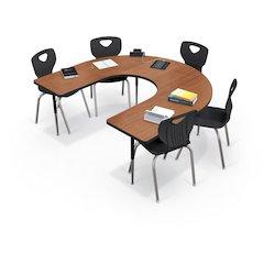 Activity Table - Horseshoe - Fusion Maple Top Surface - Black Edgeband