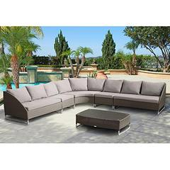 Contemporary Outdoor Bahamas 6-Piece Gray Wicker Sectional Set with Taupe Cushions