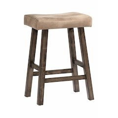 Saddle Non-Swivel Backless Bar Stool - Rustic Gray Wood Finish