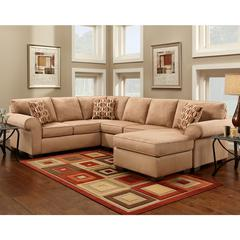 Exceptional Designs by Flash Patriot Mocha Microfiber U-Shaped Sectional
