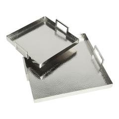 Hammered Square Trays Set Of Two