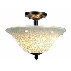 "Springdale 13""W Jeweled White Mosaic Semi Flush Mount"