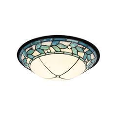 "Springdale 15""W Green Leaves Dome LED Tiffany Flush Mount"