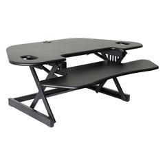 """CADR-46 Height Adjustable Sit to Standing Corner Desk Riser and Converter, 46"""", Black"""
