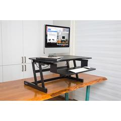 """ADR II Height Adjustable Sit to Standing Desk Riser and Converter with Anti Fatigue Mat, 32"""", Black"""