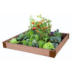 "Tool-Free Classic Sienna Raised Garden Bed 4' x 4' x 11"" – 1"" profile"