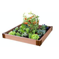 "Tool-Free Classic Sienna Raised Garden Bed 4' x 4' x 5.5"" – 2"" profile"