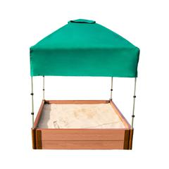 """Tool-Free Classic Sienna 4ft. x 4ft. x 11in. Composite Square Sandbox Kit with Telescoping Canopy/Cover - 2"""" profile"""