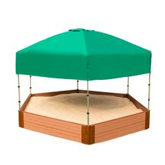 "Tool-Free Classic Sienna 7ft. x  8ft. x 11in. Composite Hexagon Sandbox Kit with Telescoping Canopy/Cover - 2"" profile"