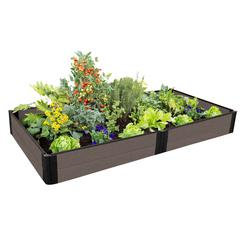 """Tool-Free Weathered Wood Raised Garden Bed 4' x 8' x 11"""" – 1"""" profile"""