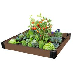 """Tool-Free Uptown Brown Raised Garden Bed 4' x 4' x 5.5"""" – 1"""" profile"""