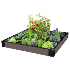 """Tool-Free Weathered Wood Raised Garden Bed 4' x 4' x 5.5"""" – 1"""" profile"""