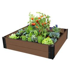 """Tool-Free Uptown Brown Raised Garden Bed 4' x 4' x 11"""" – 1"""" profile"""