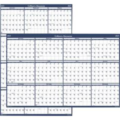 """House of Doolittle Recycled Laminated Reversible Planner - Yes - Monthly - 1 Year - January 2020 till December 2020 - 24"""" x 37"""" - Blue, Gray - Paper - Laminated"""
