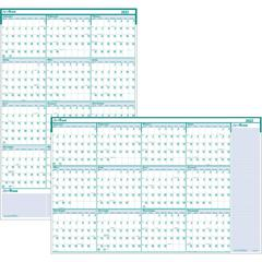 """House of Doolittle Express Track Yearly Laminated Planner - Yes - Yearly - 1 Year - January 2020 till December 2020 - 24"""" x 37"""" - Blue, Green - Paper - Laminated, Erasable"""