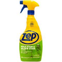 Zep No-Scrub Mildew Stain Remover with bleach - Spray - 0.25 gal (32 fl oz) - 1 Each - Blue