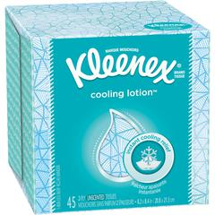 """Kleenex Cooling Lotion Tissues - 2 Ply - 8.20"""" x 8.40"""" - White - Unscented, Absorbent - For Home - 45 / Each"""