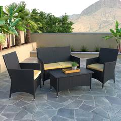Cascade 4pc Patio Bench and Coffee Table Set