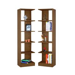 Concepts in Wood Corner Bookcases, 10 Shelves, Dry Oak Finish, 2pc