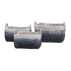 Cascade Woven Water Hyacinth Baskets - Set of 3