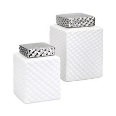 Charlotte Lidded Decorative Canisters - Set of 2