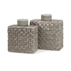Sophie Woven Ceramic Lidded Containers - Set of 2