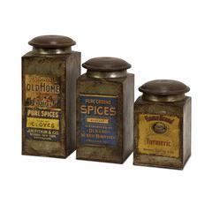 Addie Vintage Label Wood and Metal Canisters - Set of 3