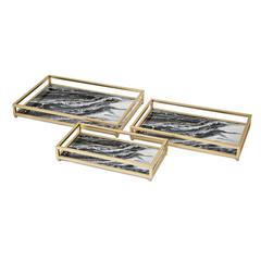 Contrast Faux Marble Decorative Trays - Set of 3