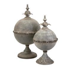 Decorative Lidded Spheres - Set of 2